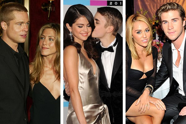 Brad Pitt e Jennifer Aniston, Selena Gomez e Justin Bieber, Miley Cyrus e Liam Hemsworth (Foto: Getty Images)