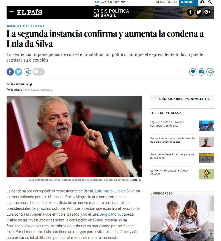 Jornal espanhol 'El País' noiticia decisão da segunda instância sobre recurso do ex-presidente Lula (Foto: Reprodução/ El País)