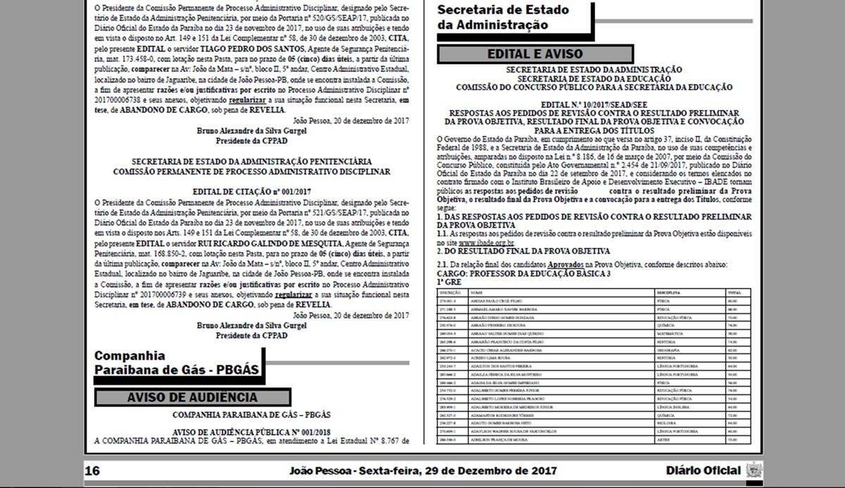 Resultado final do concurso da Educação da Paraíba é divulgado