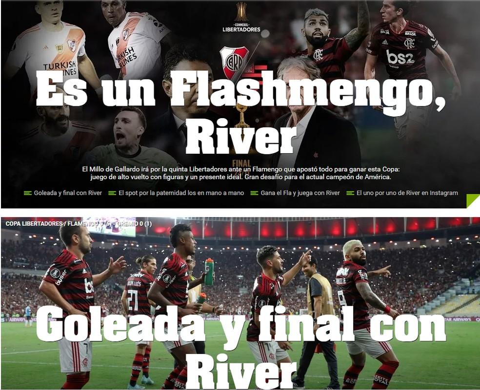 """Jornal """"Olé!"""" destaca a força do Flamengo — Foto: Reprodução jornal """"Olé"""""""