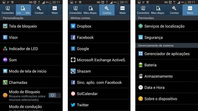 A organização das configurações do Galaxy S3 agora está dividida em abas (Foto: Reprodução/Daniel Ribeiro)