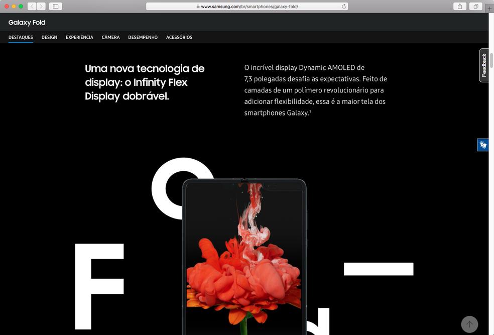 Página dedicado ao Galaxy Fold no site oficial da Samsung Brasil — Foto: Reprodução / TechTudo