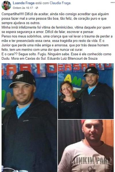 Luanda Fraga divulga fotos de Eduardo Luiz Bitencourt de Souza, suspeito de matar sua irmã Claudia Fraga (Foto: Reprodução)