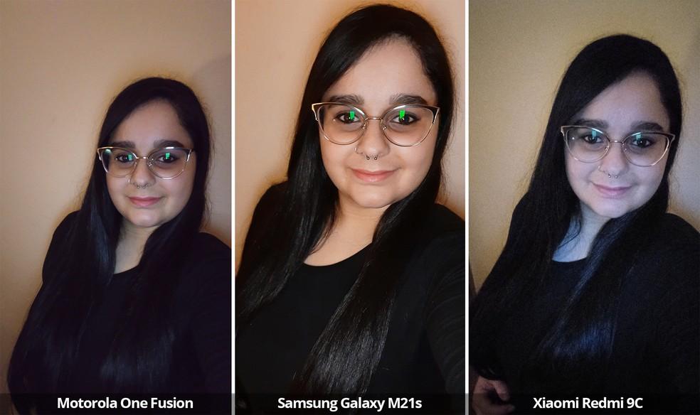 Comparativo das câmeras frontais do Motorola One Fusion, Samsung Galaxy M21s e Xiaomi Redmi 9C usando o flash frontal. — Foto: Arquivo pessoal