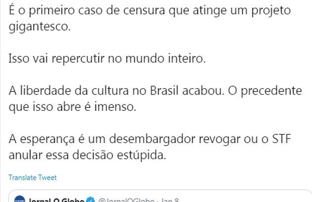 Felipe Neto escreveu: 'Isso vai repercutir no mundo inteiro' (Foto: Reprodução/Twitter)
