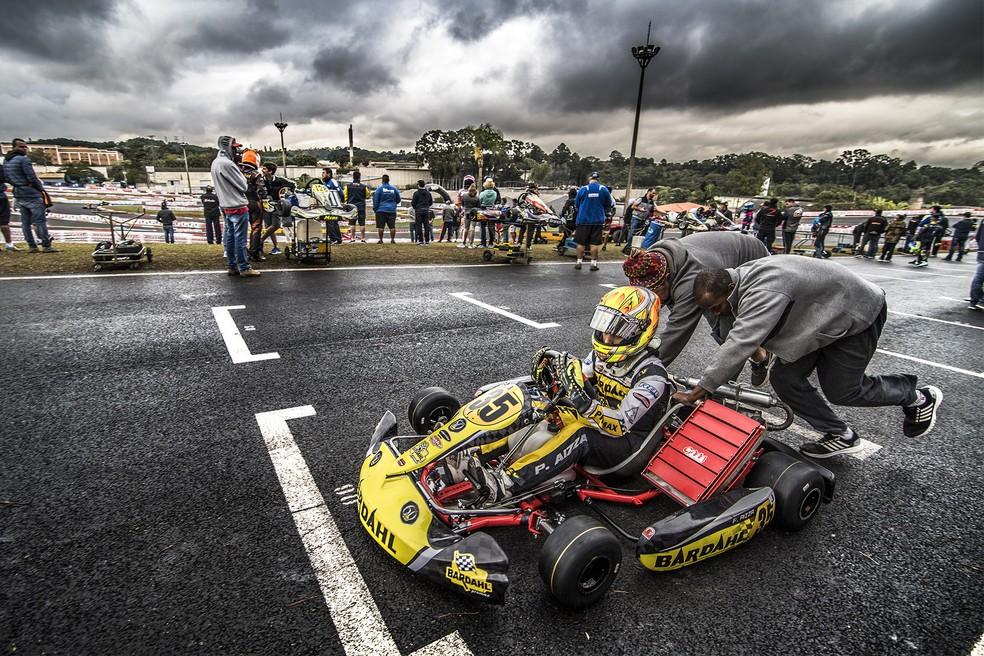 Pedro Aizza, da categoria Junior, no Brasileiro de Kart (Foto: Bruno Gorski - Quick Comunicação)