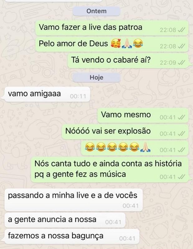 Conversa de Maraisa com Marilia Mendonça (Foto: Reprodução/Instagram)