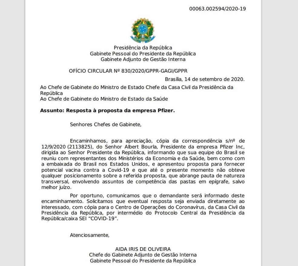 Documento da Presidência informando o Ministério da Saúde e a Casa Civil sobre carta da Pfizer sobre vacinas — Foto: Reprodução
