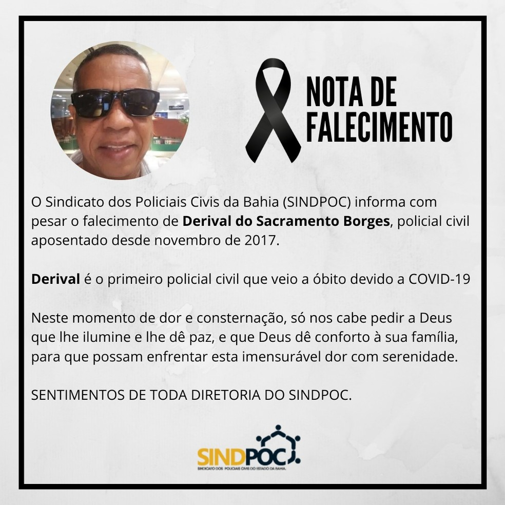 Sindpoc emite nota de pesar por investigador aposentado morto após ser diagnosticado com Covid-19 — Foto: Divulgação / Sindpoc