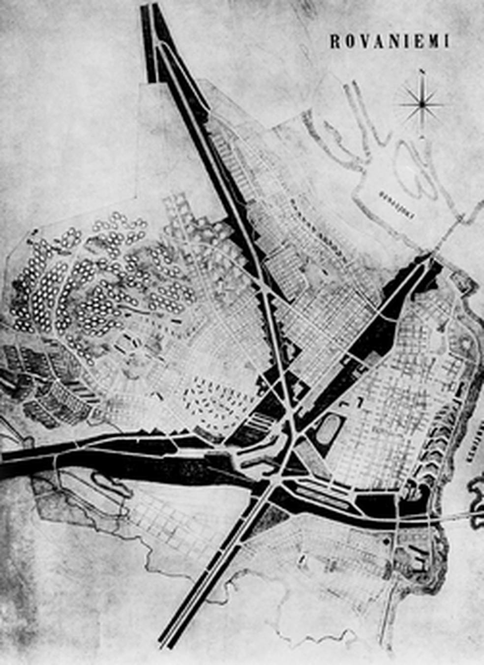 Plano urbanístico da cidade, visto de cima, parece a cabeça de uma rena — Foto: Divulgação
