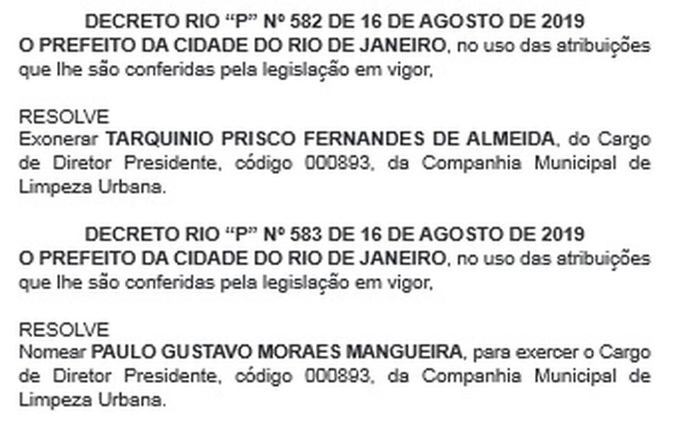 Nomeação de novo diretor-presidente da Comlurb foi publicada no Diário Oficial do Rio — Foto: Reprodução/ D.O. Rio