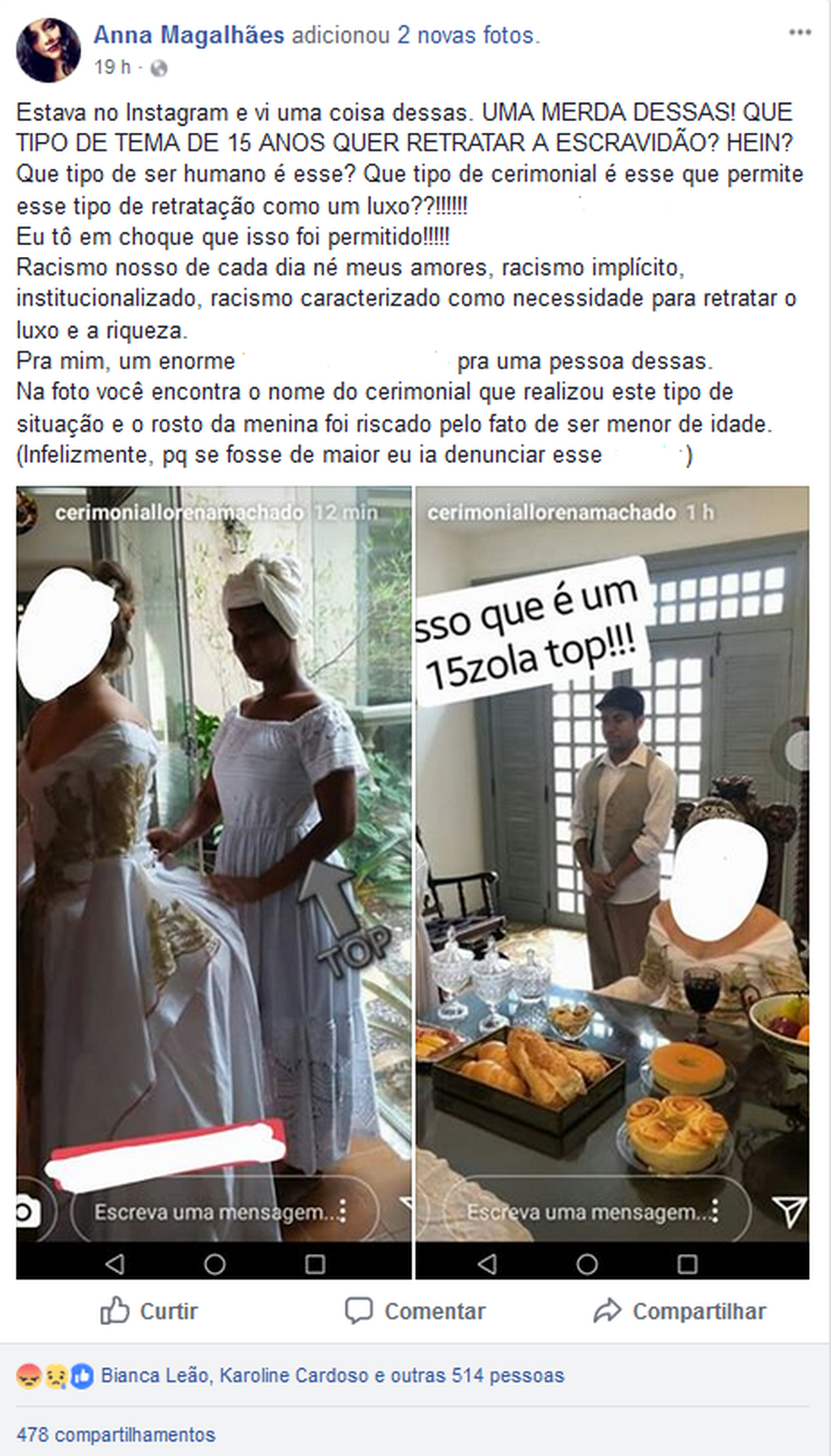 Publicação mostra as imagens onde negros aparecem servindo a debutante. (Foto: Reprodução / Facebook)