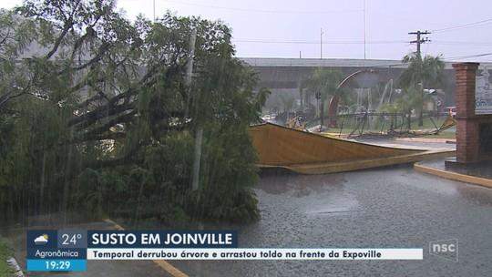 Temporal causa alagamentos na tarde deste sábado em Joinville; FOTOS
