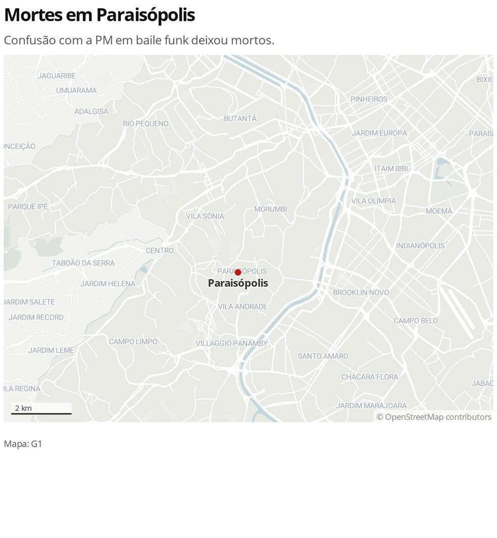 Mapa da comunidade Paraisópolis, na Zona Sul de São Paulo — Foto: Editoria de Arte/G1