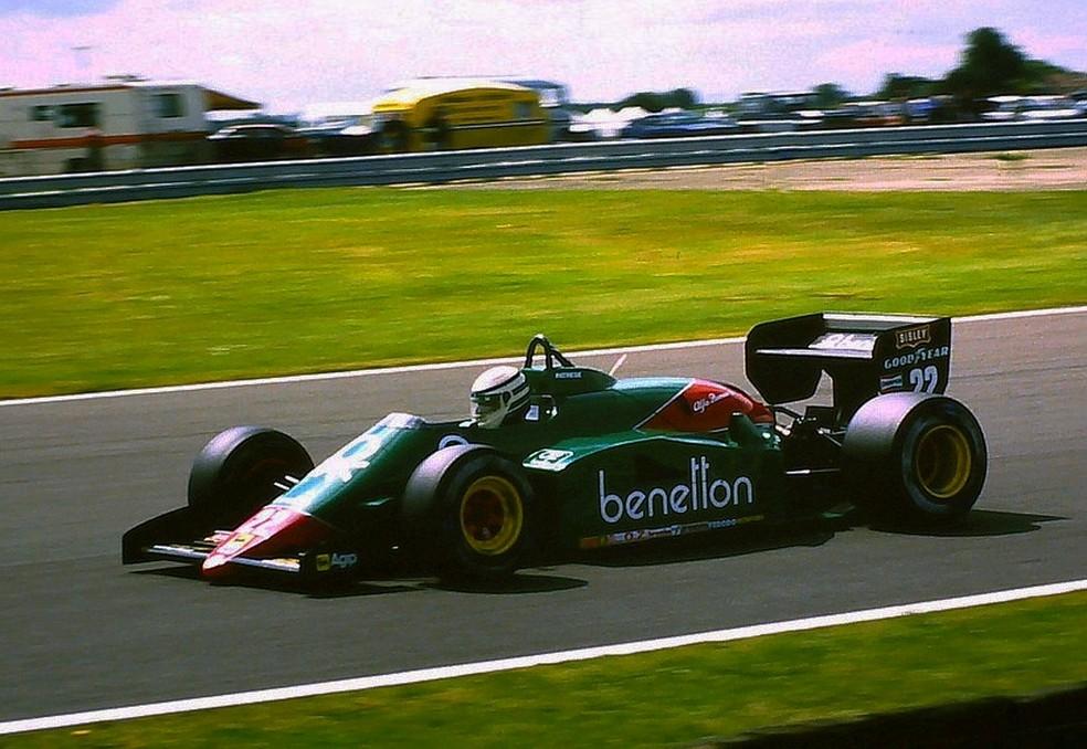 Patrese correu em Silverstone, em 1985, com Alfa Romeo 185T — Foto: Reprodução/rede social
