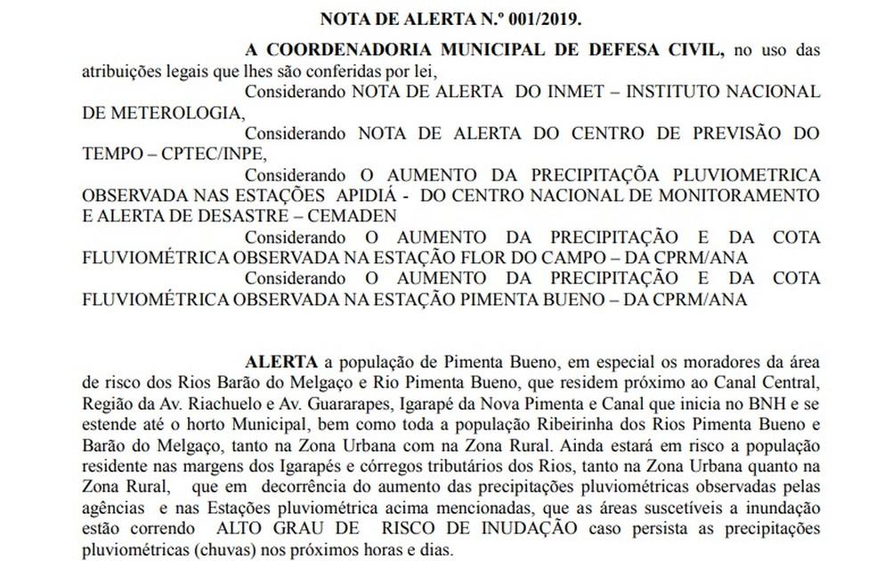 Defesa Civil divulgou nota de alerta sobre alto risco de inundações para Pimenta Bueno nesta quinta-feira (10).  — Foto: Reprodução