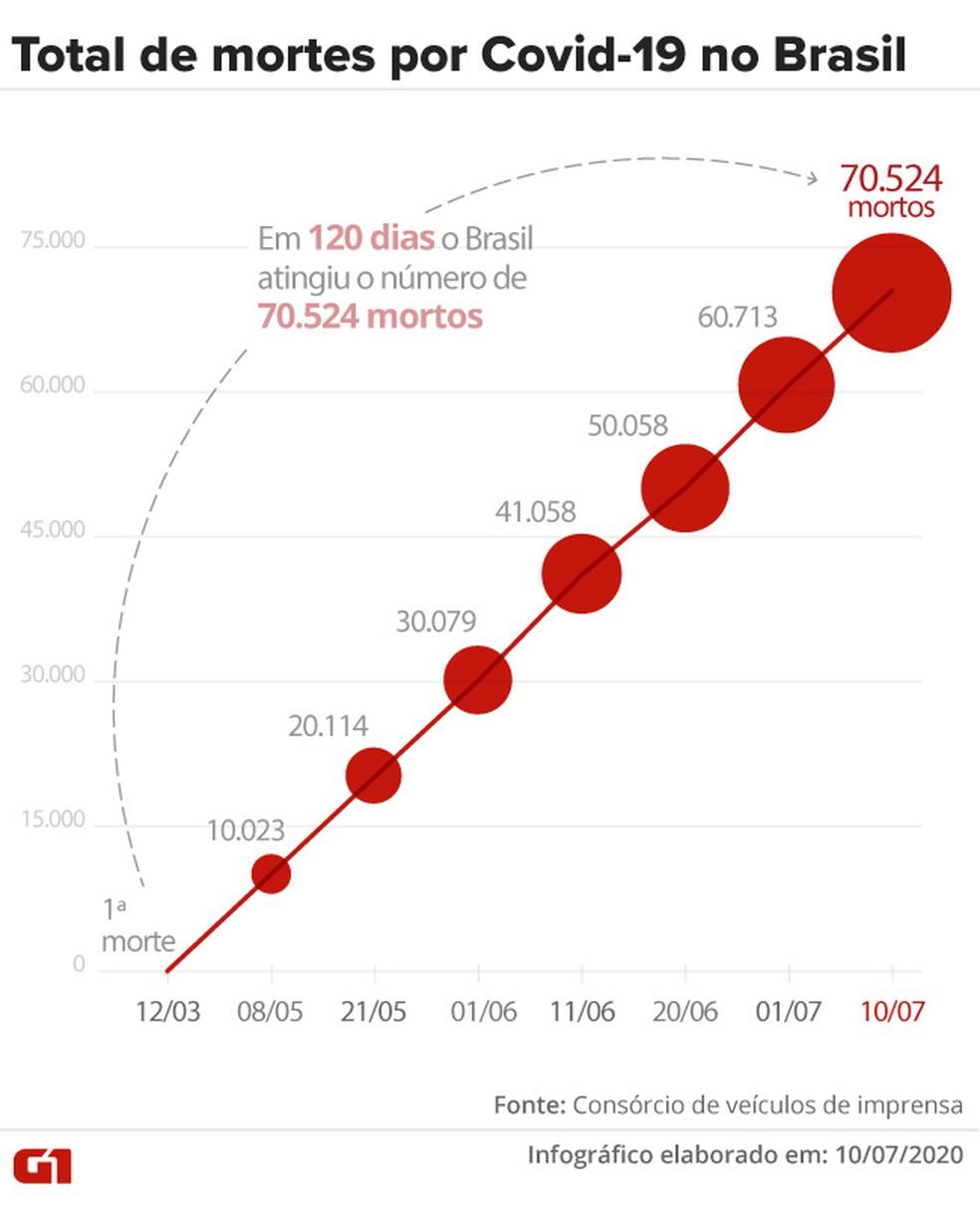 Total de mortes por Covid-19 no Brasil — Foto: Arte G1