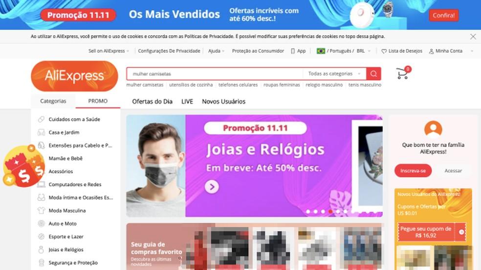 AliExpress promete descontos de até 60%  — Foto: Reprodução/Paulo Alves