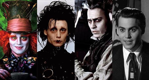 Johnny Depp como Chapeleiro Maluco, Edward Mãos de Tesoura, Sweeney Todd e Ed Wood (Foto: Divulgação)