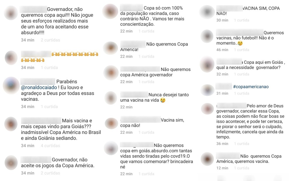 Críticas postadas por internautas sobre a comunicação do governo goiano de sediar a Copa América — Foto: Reprodução/Instagram