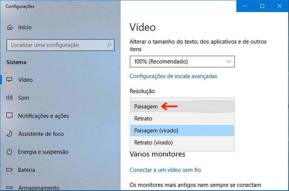 Escolha do modo paisagem para exibição de imagem no Windows  — Foto: Reprodução/Raquel Freire