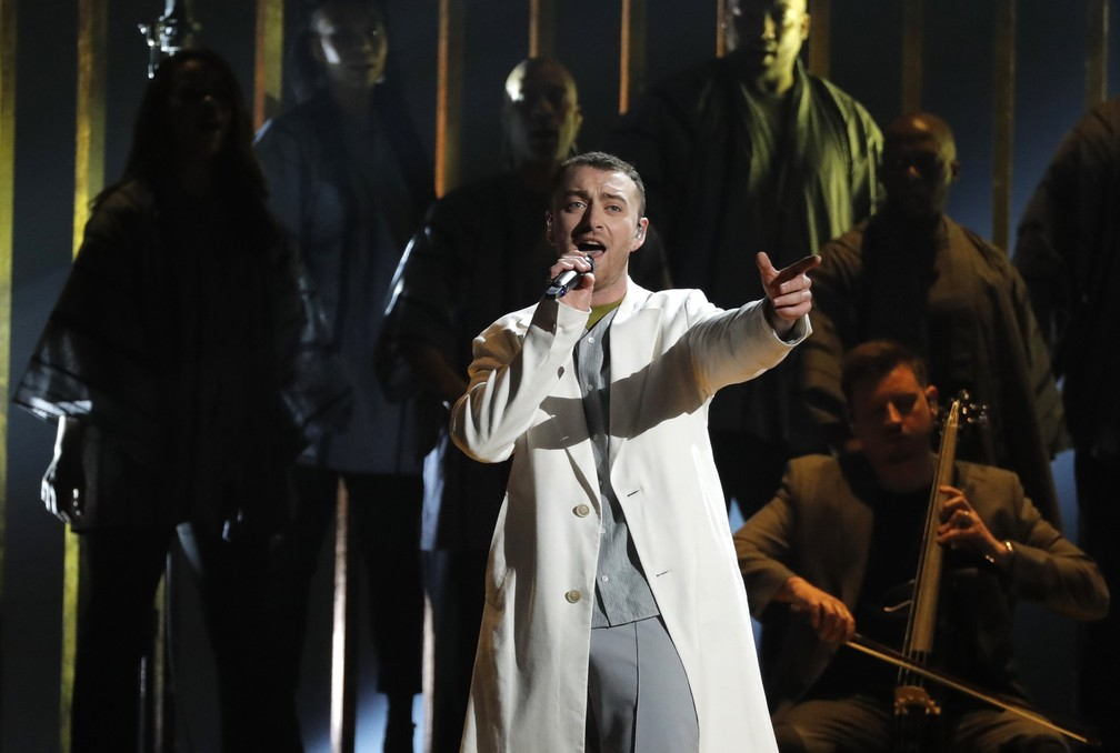 Sam Smith canta 'Pray' no Grammy 2018 (Foto: REUTERS/Lucas Jackson)