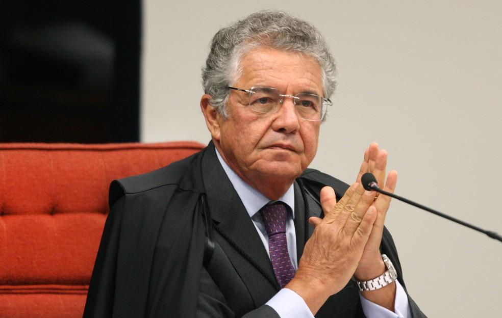 Marco Aurélio Mello, em sessão no Supremo Tribunal Federal no início de abril deste ano — Foto: Nelson Jr./SCO/STF