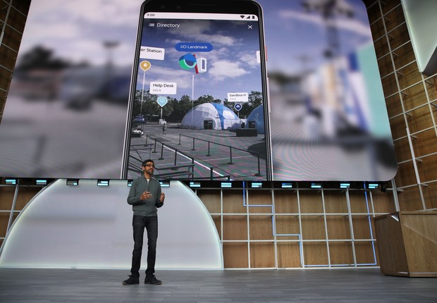 Sundar Pichai, CEO do Google, apresenta novidades na conferência Google I/O 2019 (Foto: Justin Sullivan/Getty Images)