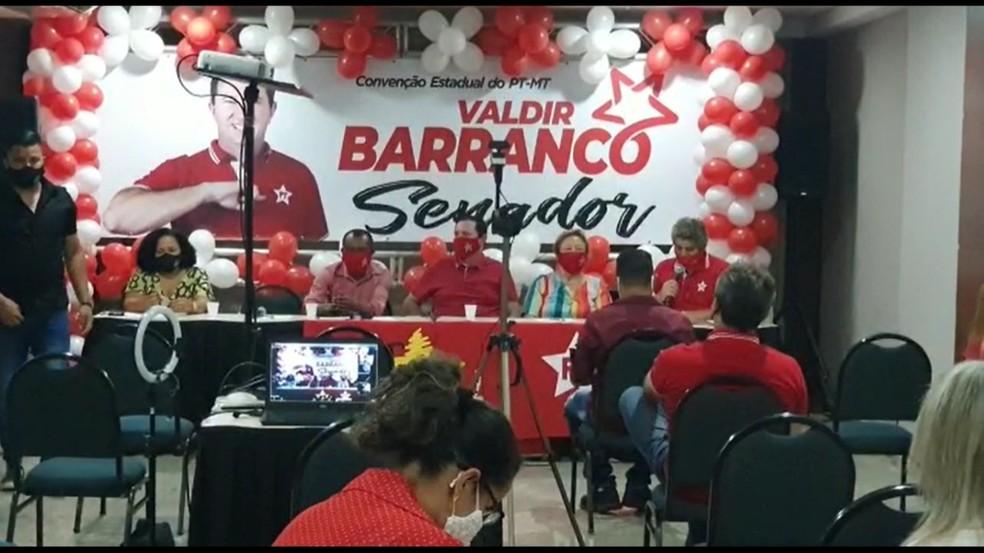 O Partido dos Trabalhadores em Mato Grosso (PT-MT) oficializou nessa quarta-feira (16) a candidatura do presidente da sigla, deputado estadual Valdir Barranco ao Senado — Foto: Divulgação