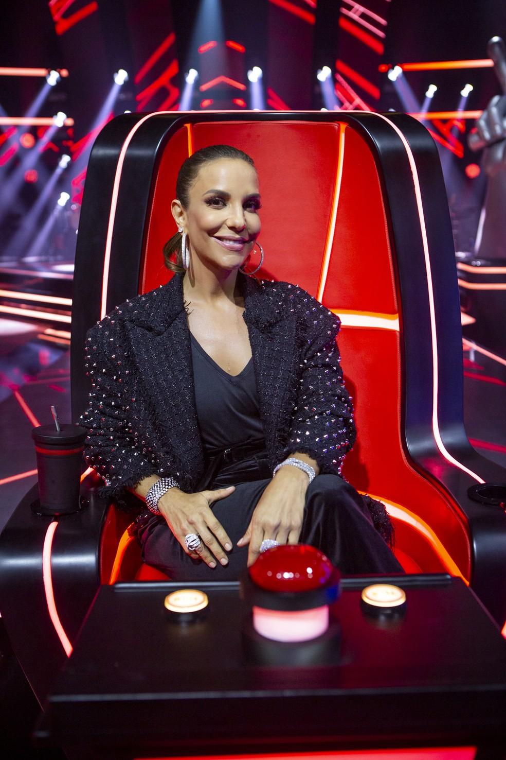 Ivete na cadeira do The Voice Brasil — Foto: Isabella Pinheiro/Gshow