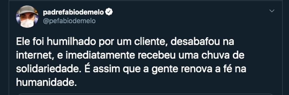 Padre Fábio de Melo falou sobre história do vendedor de Marília no Twitter — Foto: Reprodução/Twitter