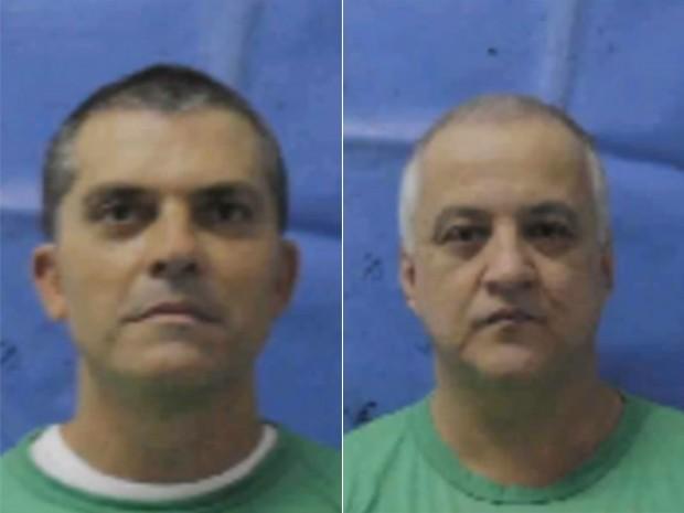 Cavendish e Cachoeira tiveram cabelos raspados no presídio de Bangu (Foto: Reprodução/Globo)