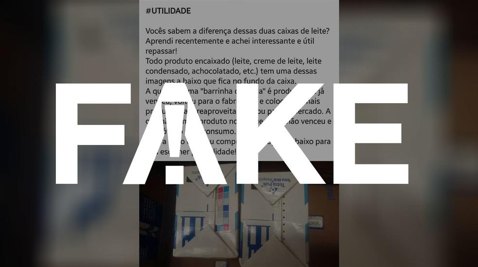 Mensagem que afirma que caixas de leite com barra colorida significa que o produto venceu é falsa — Foto: Karina Almeida/G1