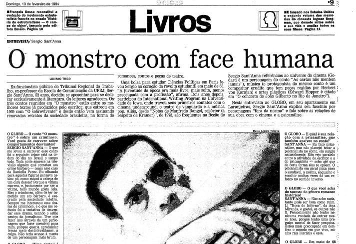 Página do GLOBO de 13 de fevereiro de 1994