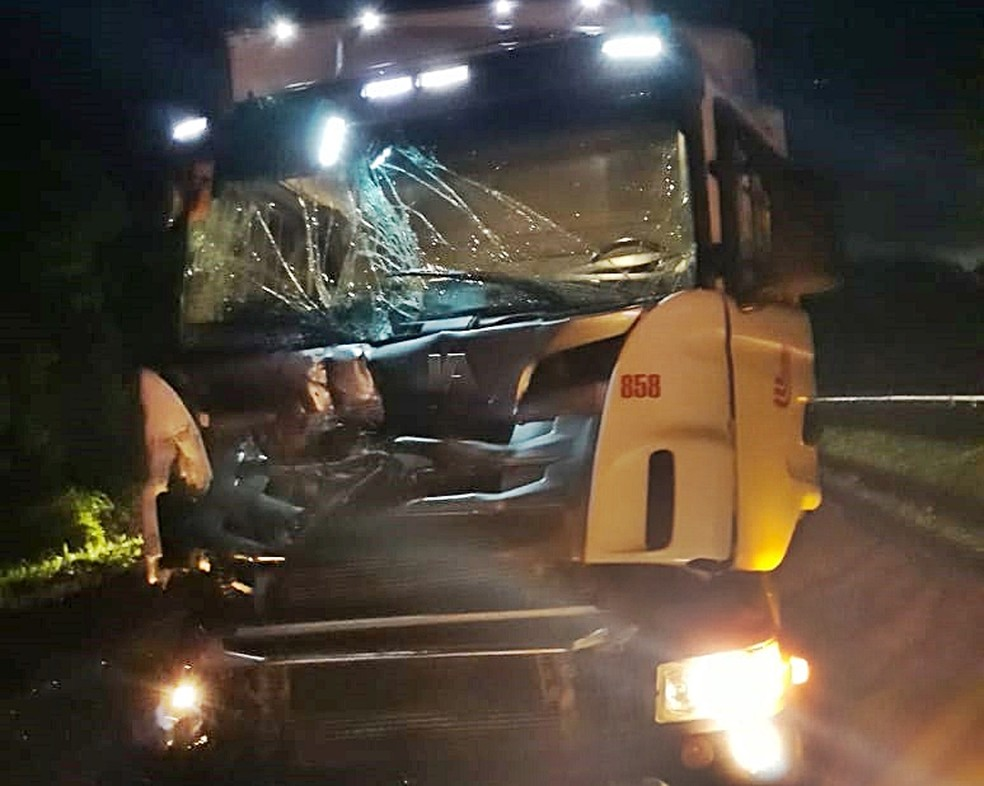 Carreta atingiu caminhão em acidente na Fernão Dias em Perdões (MG) — Foto: Polícia Rodoviária Federal