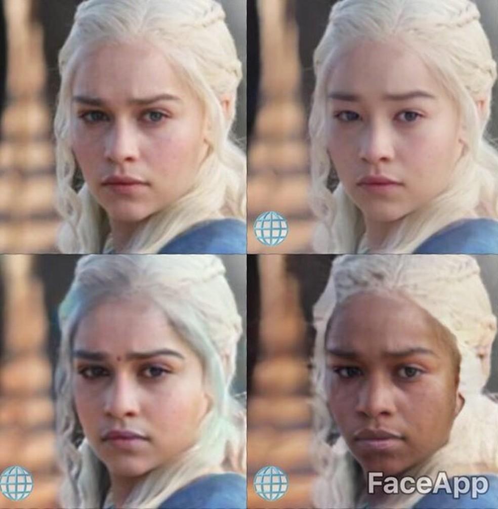 Daenerys Targaryen, personagem da atriz Emilia Clarke, na série 'Game of Thrones', com o rosto modificado por filtros do FaceApp (Foto: Reprodução/FaceApp)