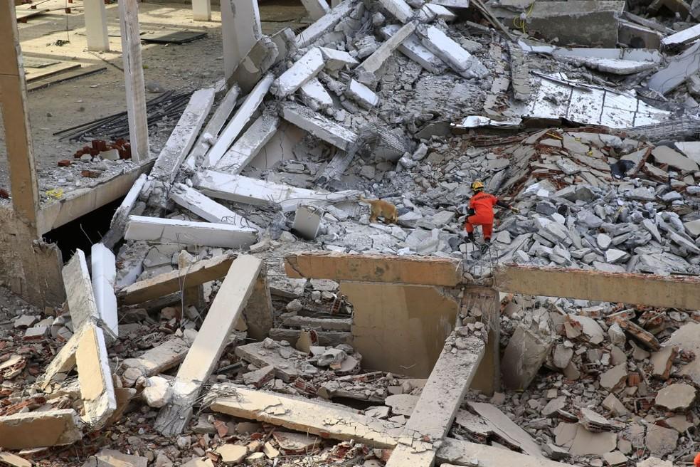 Bombeiros do DF fazem buscas em prédio que desabou em Vicente Pires (Foto: Corpo de Bombeiros/Divulgação)