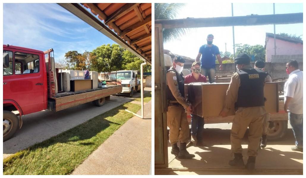 PM arrecada doações para família que teve casa destruída em incêndio, em Várzea da Palma