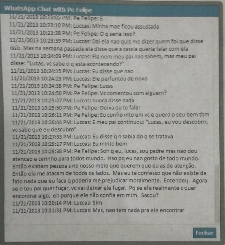 Segundo Lucas, padre mantinha conversas com ele via WhatsApp — Foto: Arquivo pessoal