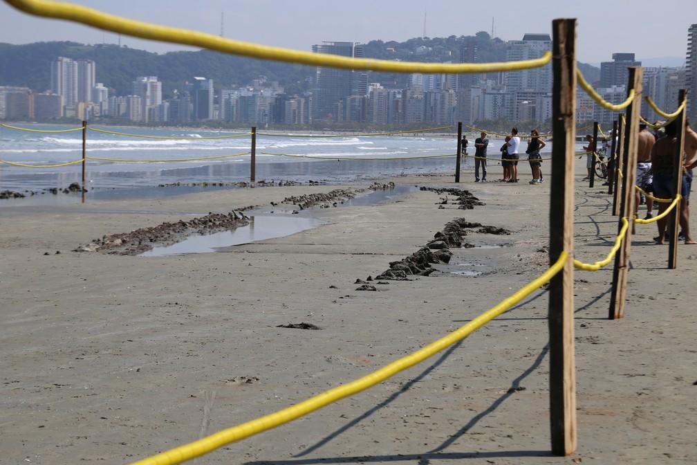 Destroços de navio foram encontrados na Praia do Embaré (Foto: José Claudio Pimentel/G1)