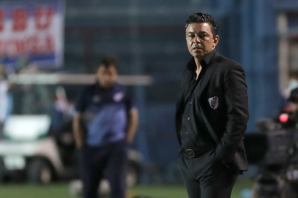 Marcelo Gallardo durante jogo do River Plate — Foto: Getty Images