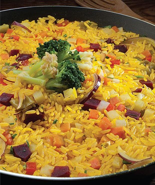 Paella vegetariana, do livro As deliciosas receitas do Tempero de Família, de Rodrigo Hilbert (Foto: Divulgação )