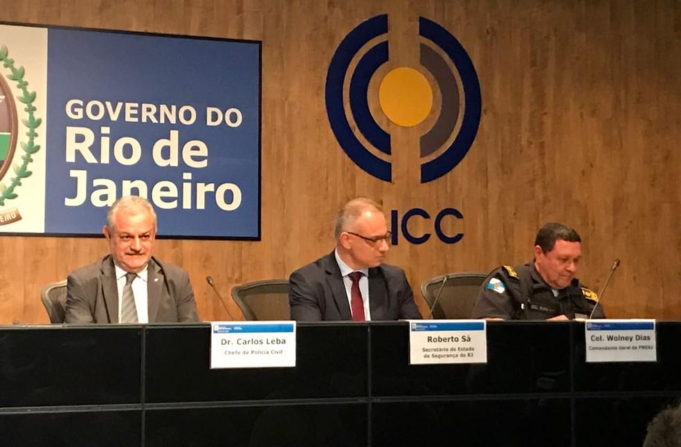 Autoridades de segurança do RJ falam sobre ataques e prisões na Cidade Alta (Foto: Henrique Coelho/G1)