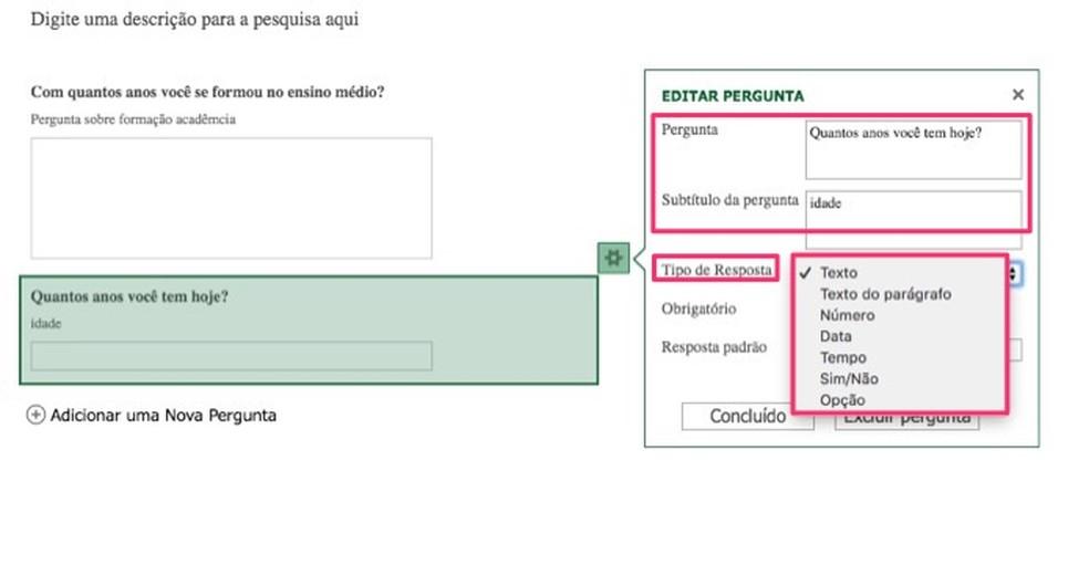 Ações para editar uma pergunta em uma nova pesquisa criada no Excel Online — Foto: Reprodução/Marvin Costa