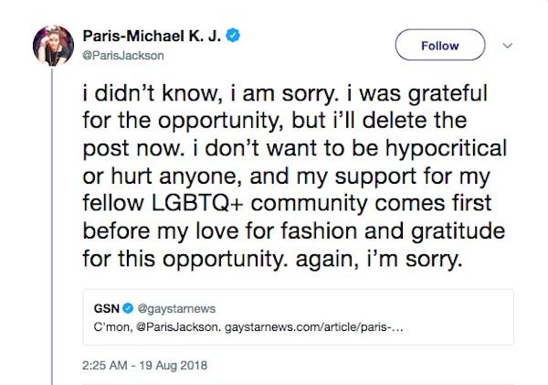 O pedido de desculpas de Paris Jackson por seu ensaio para a revista de Singapura (Foto: Twitter)