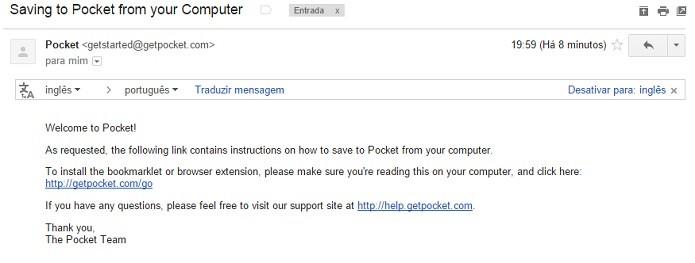 Confira o seu e-mail para acessar o link da extensão (Foto: Reprodução/Thiago Barros)