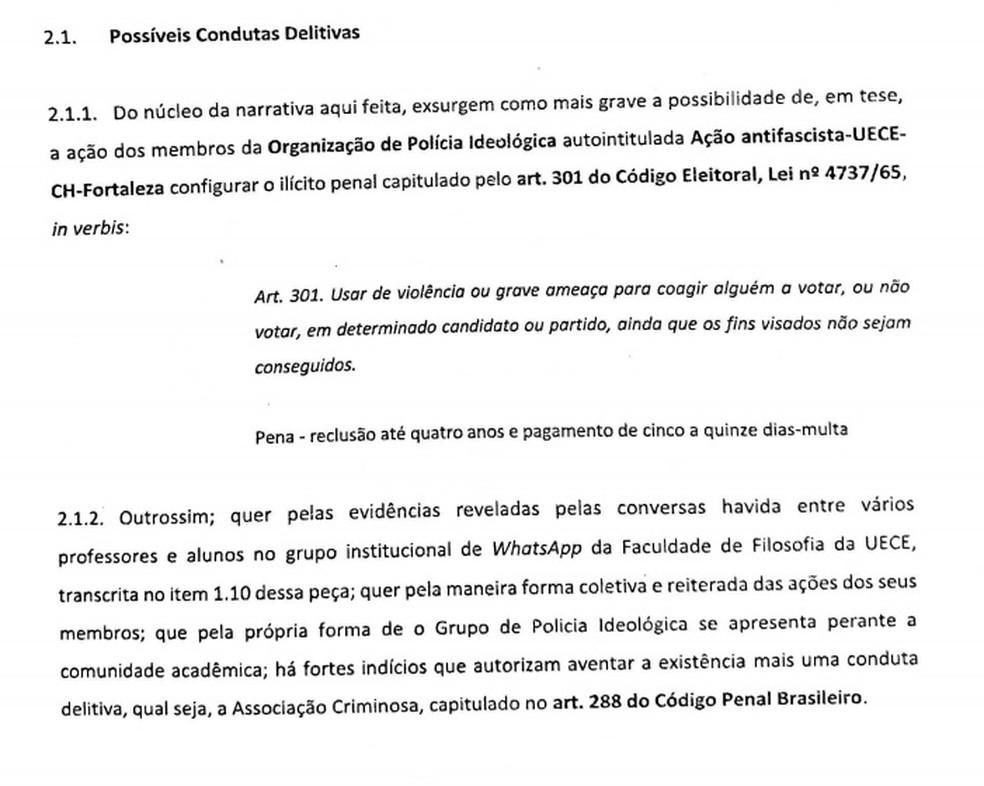 Alunos denunciam professores e estudantes da UECE por suposta ameaça e a coação votar, ou não votar, em determinado candidato — Foto: Reprodução