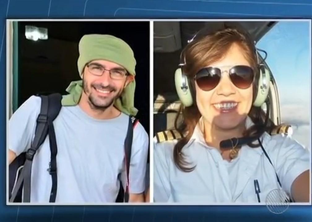 Fotógrafo Rui Rezende e piloto Ana Maíra Moraes estavam em avião que caiu — Foto: Reprodução/TV Bahia