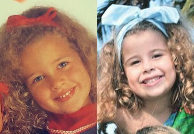 Debby Lagranha na infância (esq) e a filha, Duda Lagranha (dir) (Foto: Reprodução/Instagram)