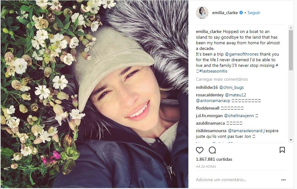 O adeus de Daenerys no Instagram. (Foto: Reprodução / Instagram)